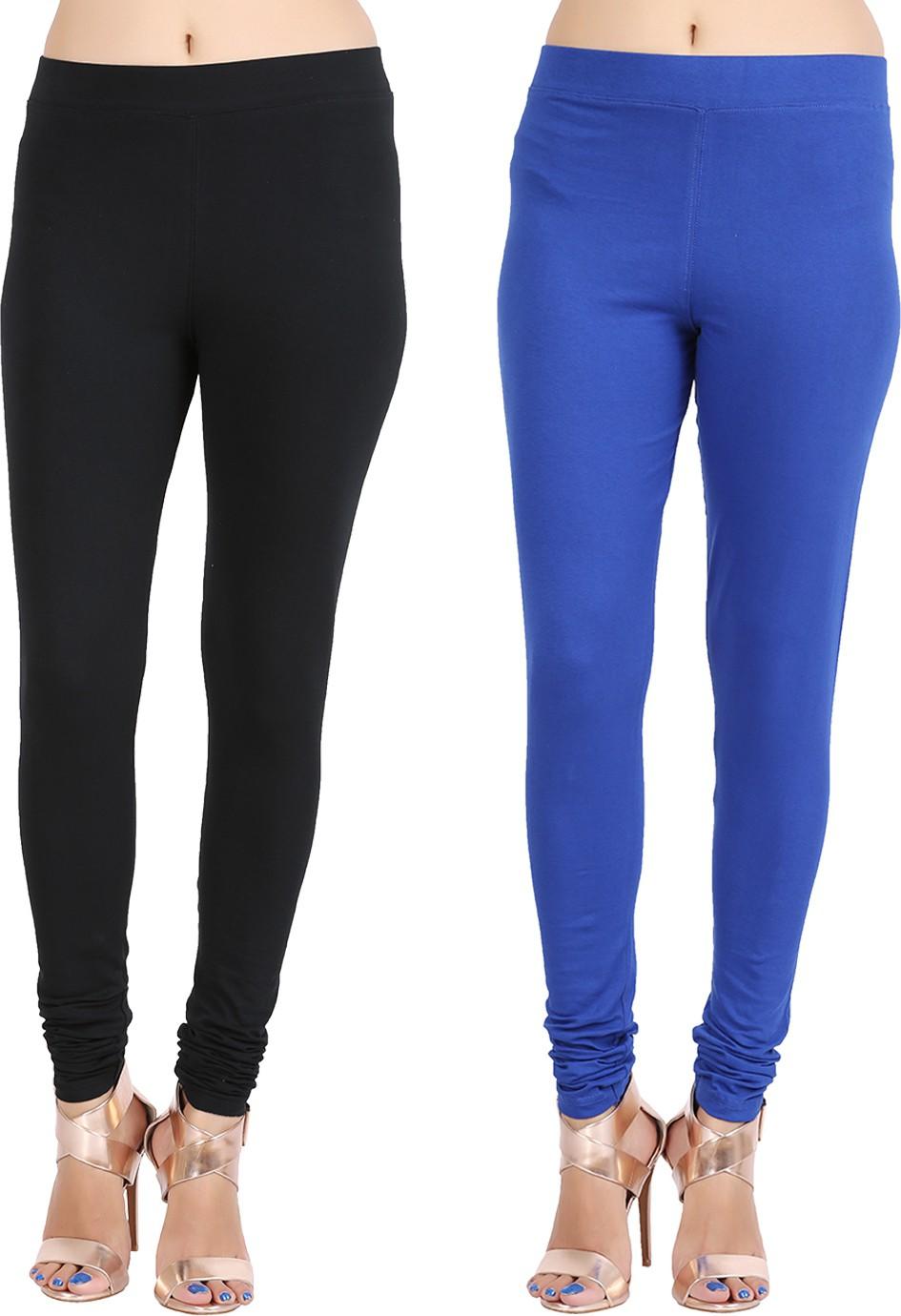 Lula Ms Womens Black, Dark Blue Leggings(Pack of 2)