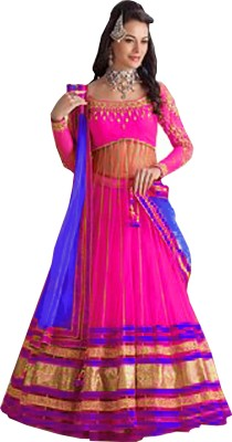 JS Pavitra Fabrics Embroidered Women's Lehenga, Choli and Dupatta Set