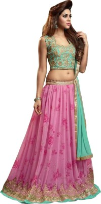 Ecoco Fashion Georgette Printed Semi-stitched Lehenga Choli Material