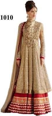 Getshopp Net Embroidered Semi-stitched Salwar Suit Dupatta Material