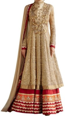 Shreet Fashion Georgette Self Design Semi-stitched Salwar Suit Dupatta Material