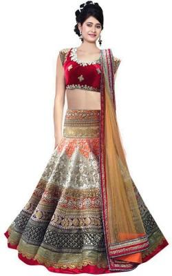 Fashion Bucket Embellished Women's Lehenga, Choli and Dupatta Set