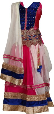 Crazeis Embroidered Girl's Lehenga, Choli and Dupatta Set