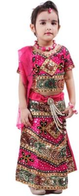 RTD Self Design Girl's Lehenga, Choli and Dupatta Set