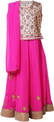 Little Radha Solid Girl's Lehenga, Choli and Dupatta Set