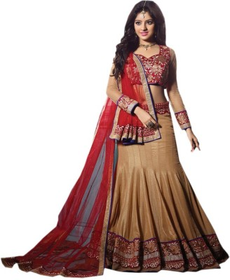 Miss Charming Embroidered Women's Lehenga, Choli and Dupatta Set