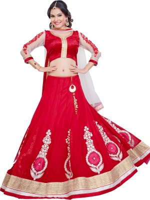 Aarna's Collection Georgette Embroidered Semi-stitched Lehenga Choli Material