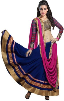 Shreeji Enterprise Georgette Embroidered Semi-stitched Lehenga Choli Material