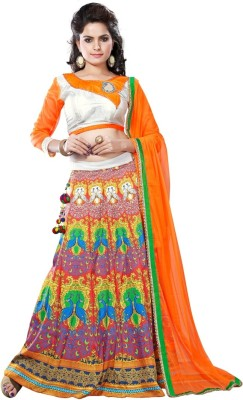 vruticreation Embroidered, Self Design Women's Lehenga, Choli and Dupatta Set