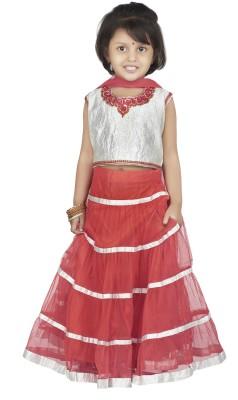 BownBee Embroidered Girls Lehenga, Choli and Dupatta Set