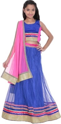 Panchi Embroidered Girl's Lehenga, Choli and Dupatta Set