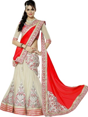 Helix Enterprise Net Applique, Embroidered Semi-stitched Lehenga Choli Material