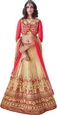 Dlines Embroidered Women's Lehenga, Choli and Dupatta Set