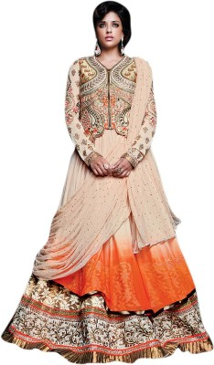 De Marca Silk, Georgette Embroidered Lehenga Choli Material