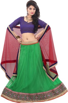 Aagamanfashion Striped Women's Lehenga, Choli and Dupatta Set