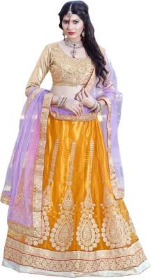 Triveni Self Design Women's Lehenga, Choli and Dupatta Set(Stitched) at flipkart
