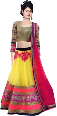 B AND G FASHION Net Embroidered Semi-stitched Lehenga Choli Material