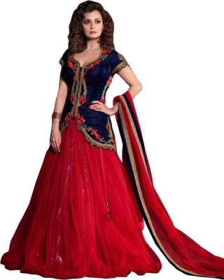 Suitevilla Net, Velvet Embroidered Semi-stitched Salwar Suit Dupatta Material