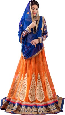 Renisha Fashion Striped Women's Lehenga, Choli and Dupatta Set