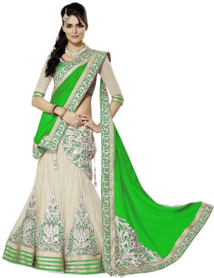 Bhanderi Enterprise Embroidered Women's Lehenga, Choli and Dupatta Set