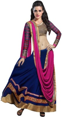 B AND G FASHION Georgette Self Design Semi-stitched Lehenga Choli Material