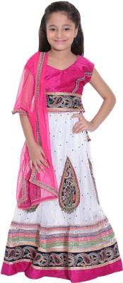 Panchi Embroidered Girl's Lehenga, Choli and Dupatta Set
