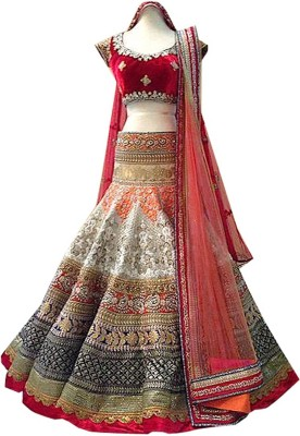 Girly World Embroidered Women's Lehenga, Choli and Dupatta Set