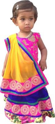 Jamboree Embroidered Girl's Lehenga, Choli and Dupatta Set