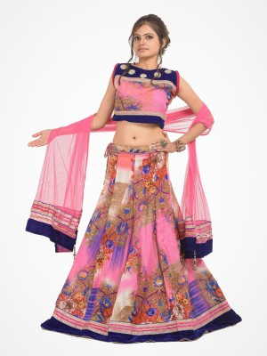 RoopRahasya Floral Print, Applique Women's Lehenga, Choli and Dupatta Set