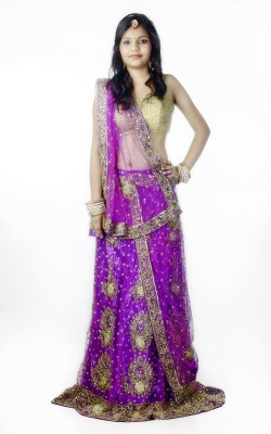 Sarswati Self Design Women's Lehenga, Choli and Dupatta Set