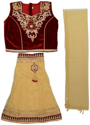 MONICA GIFT Embroidered Girl's Lehenga, Choli and Dupatta Set