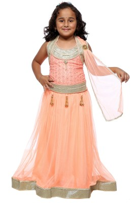 My Lil Princess Self Design Girls Lehenga, Choli and Dupatta Set