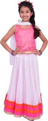 Kilkari Solid Girl's Ghagra, Choli, Dupatta Set