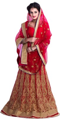 Vise Self Design Women's Lehenga, Choli and Dupatta Set