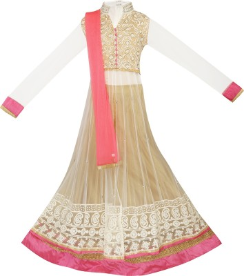 Dew Drops Embroidered Girl's Lehenga, Choli and Dupatta Set