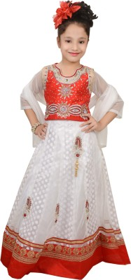 Angel Creations Embroidered Girl's Lehenga, Choli and Dupatta Set