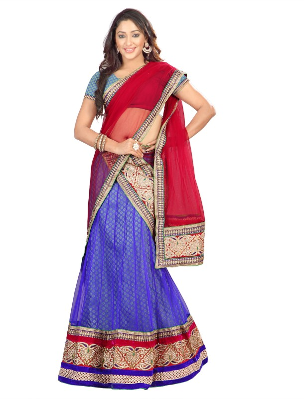 Silkbazar Embroidered Women's Lehenga, Choli and Dupatta Set(Stitched)