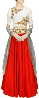 Sapt Rang Fashions Embroidered Womens Lehenga, Choli and Dupatta Set