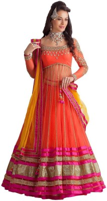 Decent Fabric Embroidered Women's Lehenga, Choli and Dupatta Set