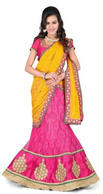 Kuki Fashion Self Design Women's Lehenga, Choli and Dupatta Set