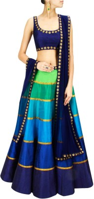 Shreeji Enterprise Satin Embroidered Semi-stitched Lehenga Choli Material