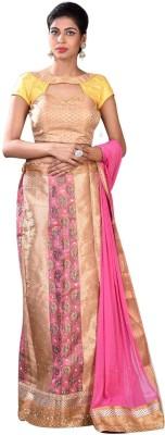 Indian Saree Mandir Self Design Women's Lehenga, Choli and Dupatta Set