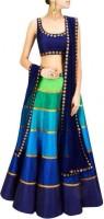 Bollylounge Chaniya, Ghagra Cholis - BollyLounge Striped Women's Lehenga, Choli and Dupatta Set(Stitched)