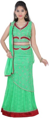 Mint Embroidered Girl's Lehenga, Choli and Dupatta Set