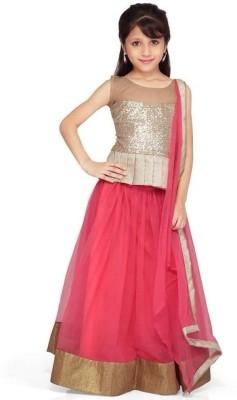Xomantic Fashion Self Design Girl's Lehenga Choli