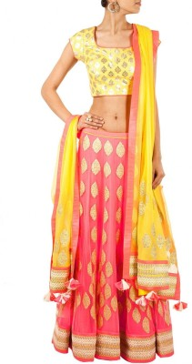 mGm Creation Net, Satin Self Design Semi-stitched Lehenga Choli Material