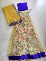 Rudvee Designs Chaniya, Ghagra Cholis - Rudvee Designs Floral Print Women's Lehenga, Choli and Dupatta Set(Stitched)