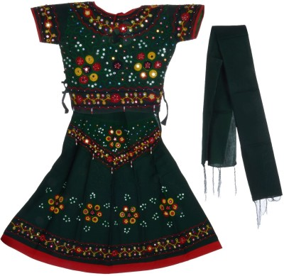 JBN Creation Embroidered, Embellished Girl's Lehenga, Choli and Dupatta Set