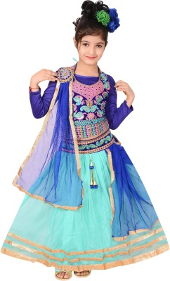 P.R. Creation Embroidered Girls Lehenga, Choli and Dupatta Set