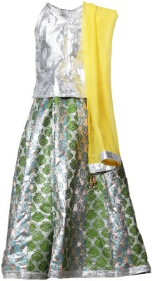 Little Radha Embroidered Girl's Lehenga, Choli and Dupatta Set